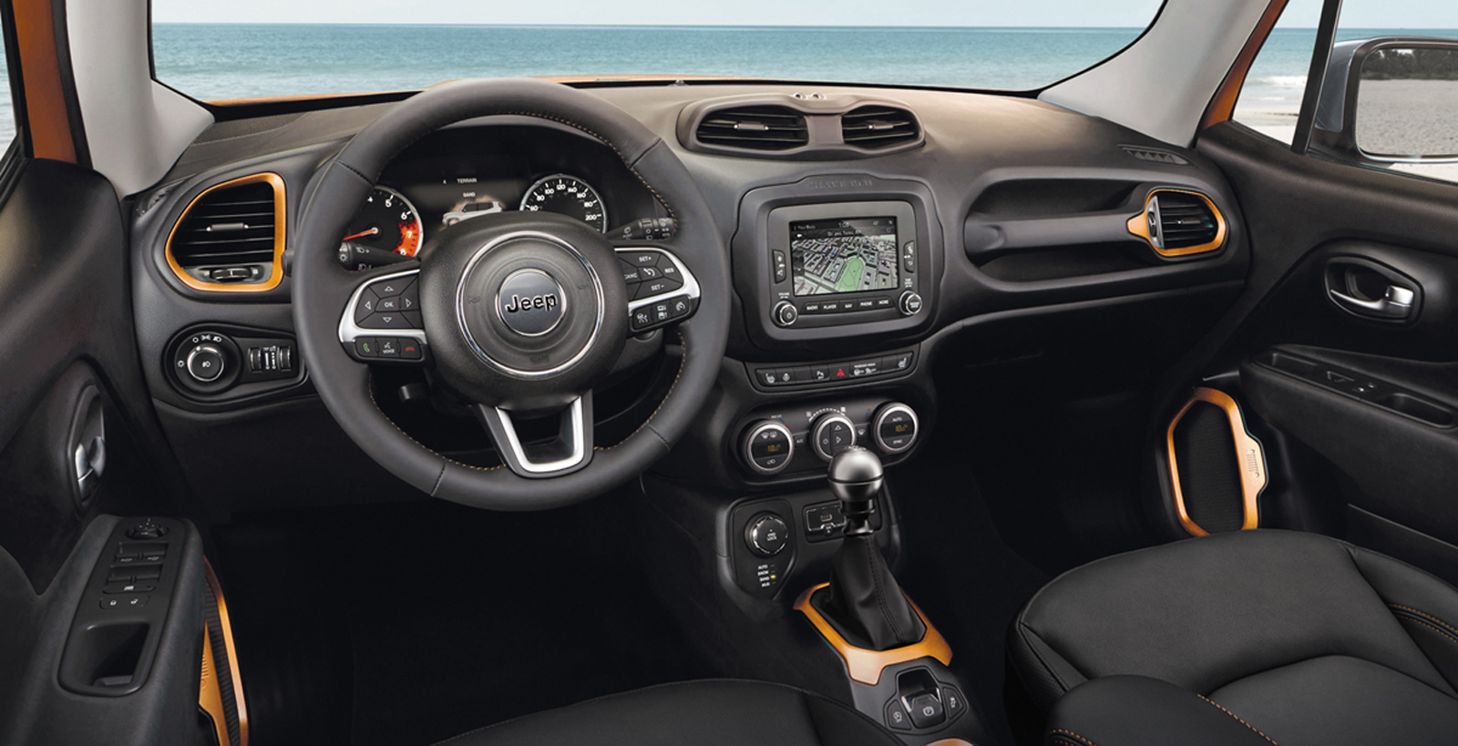 foto salpicadero jeep renegade opening edition suv todocamino 2014. Black Bedroom Furniture Sets. Home Design Ideas