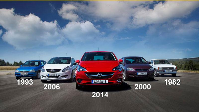 Cinco generaciones del Opel Corsa