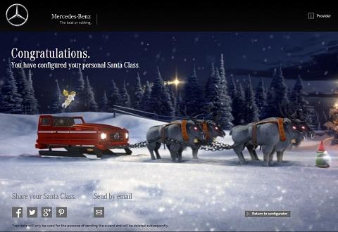 Mercedes te da la oportunidad de configurar el trineo de Papá Noel
